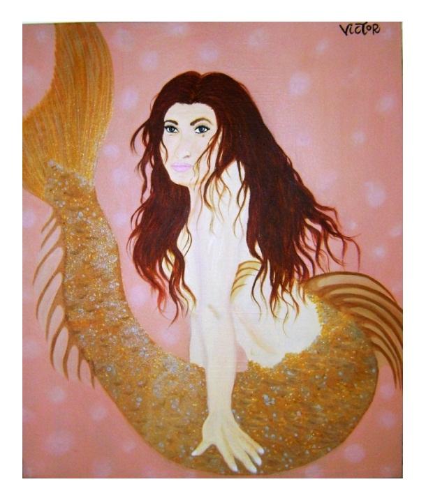 Sereia Dourada 50x60cm