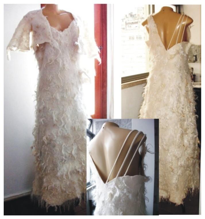 1.Vestido longo  feltragem lã merino e cabra angorá