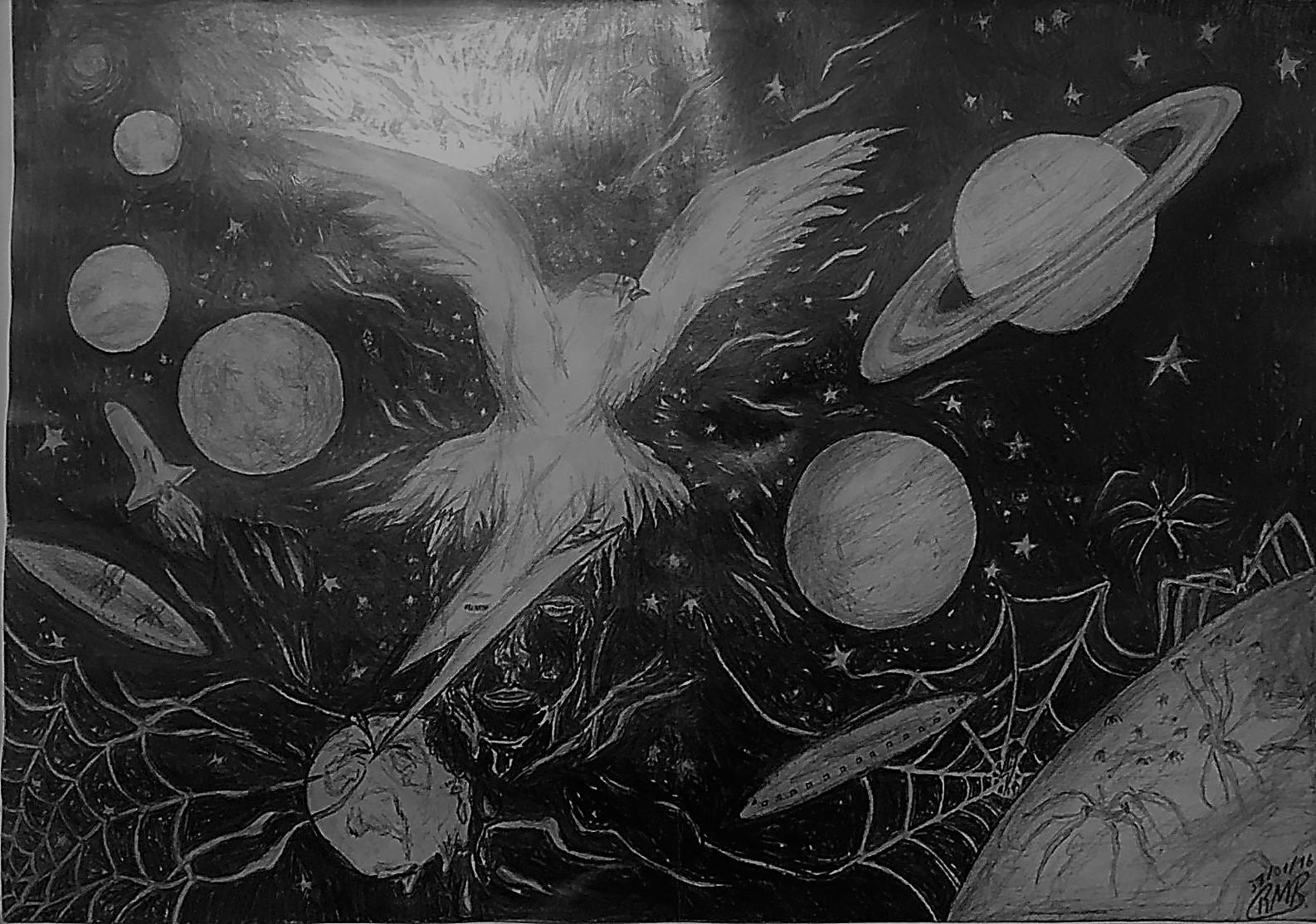 O infinito universo de Bowie - Folha A3 (2016) - Lápis 6b